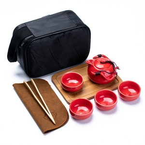 Travel Tea Set Portable Bag, Fast Guest Kungfu Ceramics, One Pot, Four Cups of Office Business Gifts