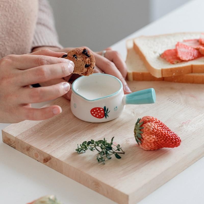 السيراميك جرة صغيرة جرة لبن مع مقبض القهوة السكر السلطانيات الفراولة نمط الأزهار المطبخ تجهيزات المطابخ