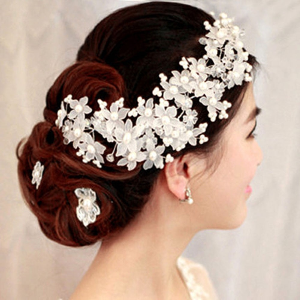 Fashion Crystal Bride And Bridesmaid Handmade Frosted Pearl Decoration Headdress Wedding Dress Acces