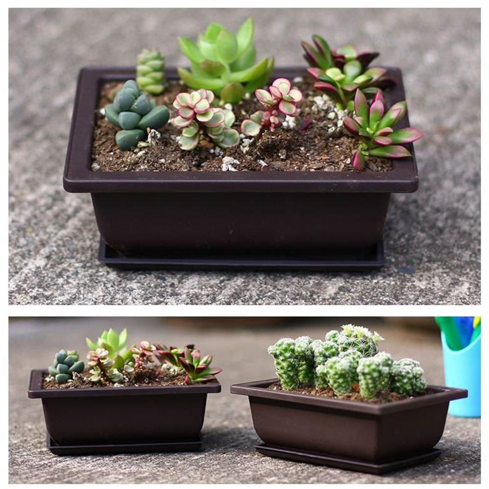 FlowerpotKit Succulent Flower Pot Square Rectangular Plastic Bonsai Flowerpot Garden Tool Flower Pots