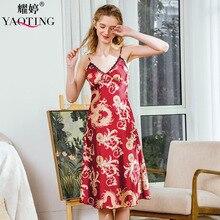 YAO TING 2019 femmes chemise de nuit v-cou nuit jupe impression homewear vin rouge royalblue jupe confortable tissu de soie