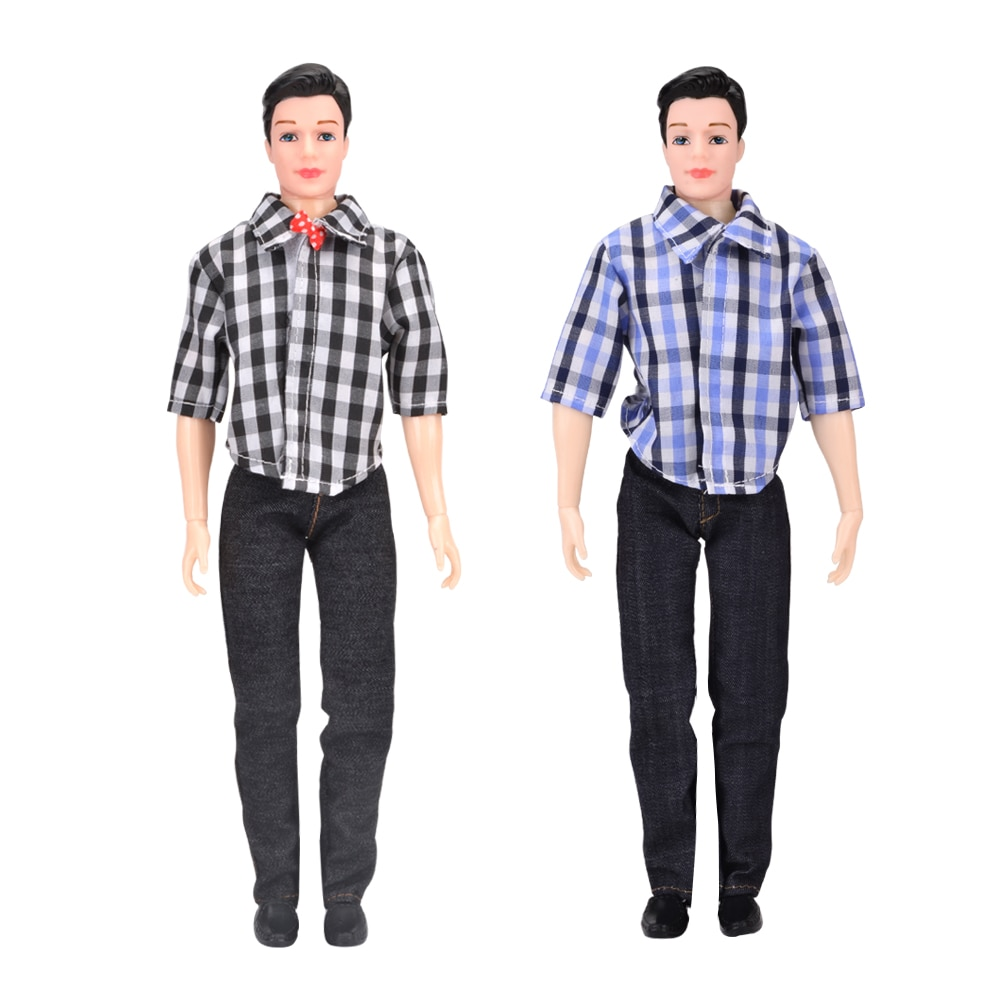 1PC Ken Boy Doll With Clothes Suit DIY Toys For Children Dolls With Casual Wear Plaid Jacket Pant Outfit Joints Doll 5 sets fashion casual wear doll clothes tops t shirt jacket pants outfits accessories for barbie boy friend ken dolls cloth toys
