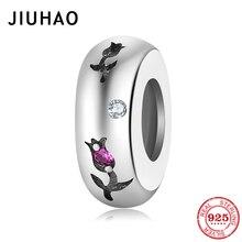 Hot sale 925 Sterling Silver Tender Rose Charms Pink CZ Beads Fit Original DIY Pandora Bracelet Pendants SIlver 925 Jewelry