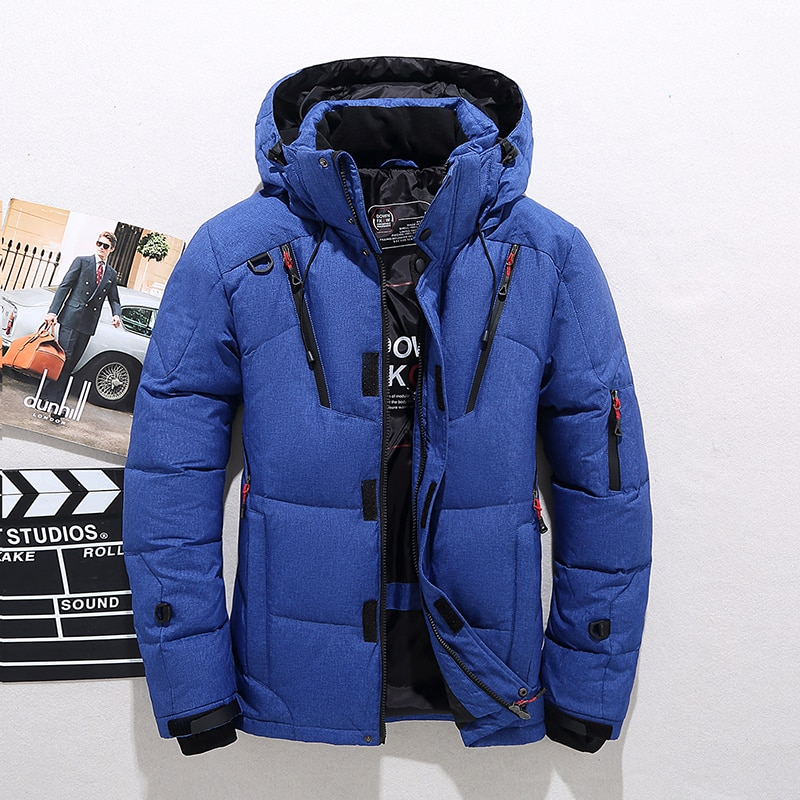 Parka Coat Casual Slim Overcoat with Many Pockets Mens Men Down High Quality Thick Warm Winter Jacket Hooded Thicken Duck Down