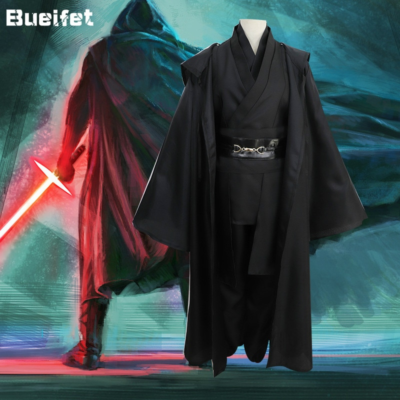 Anakin-بدلة تنكرية للرجال من Skywalker ، نسخة طبق الأصل من Jedi ، فستان فانتازيا للذكور من حرب النجوم ، زي Jedi Knight للهالوين ، مقاس كبير