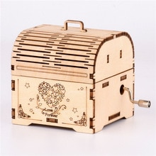 3D Wooden Creative DIY Puzzle Hand Crank Music Box Wooden Mechanical Gramophone Box Assembled Toy Gi