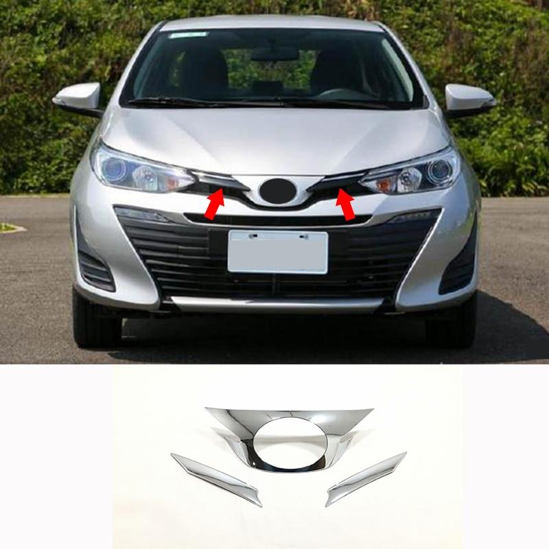 Para Toyota VIOS 2019 2020 ABS cromado coche marco estándar decoración pegatina cubierta ajuste coche accesorios de estilo 3 uds