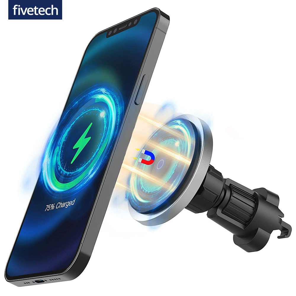 Автомобильное зарядное устройство Fivetech, беспроводное, мощное, магнитное, 15 Вт, для iPhone 12 Pro Max/12 Mini