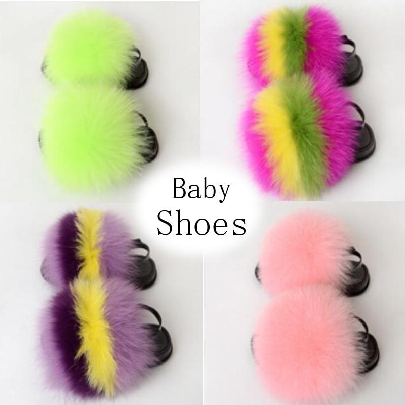Детские меховые шлепанцы для девочек, пушистые радужные сандалии с мехом енота, плоская подошва, плюшевые тапочки, сланцы Тапочки    АлиЭкспресс