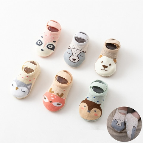 1Pairs Brand Baby Boys Girls Kids Anti Slip Ankle Socks Cute Cartoon Print Soft Cotton Anti-slip Cut