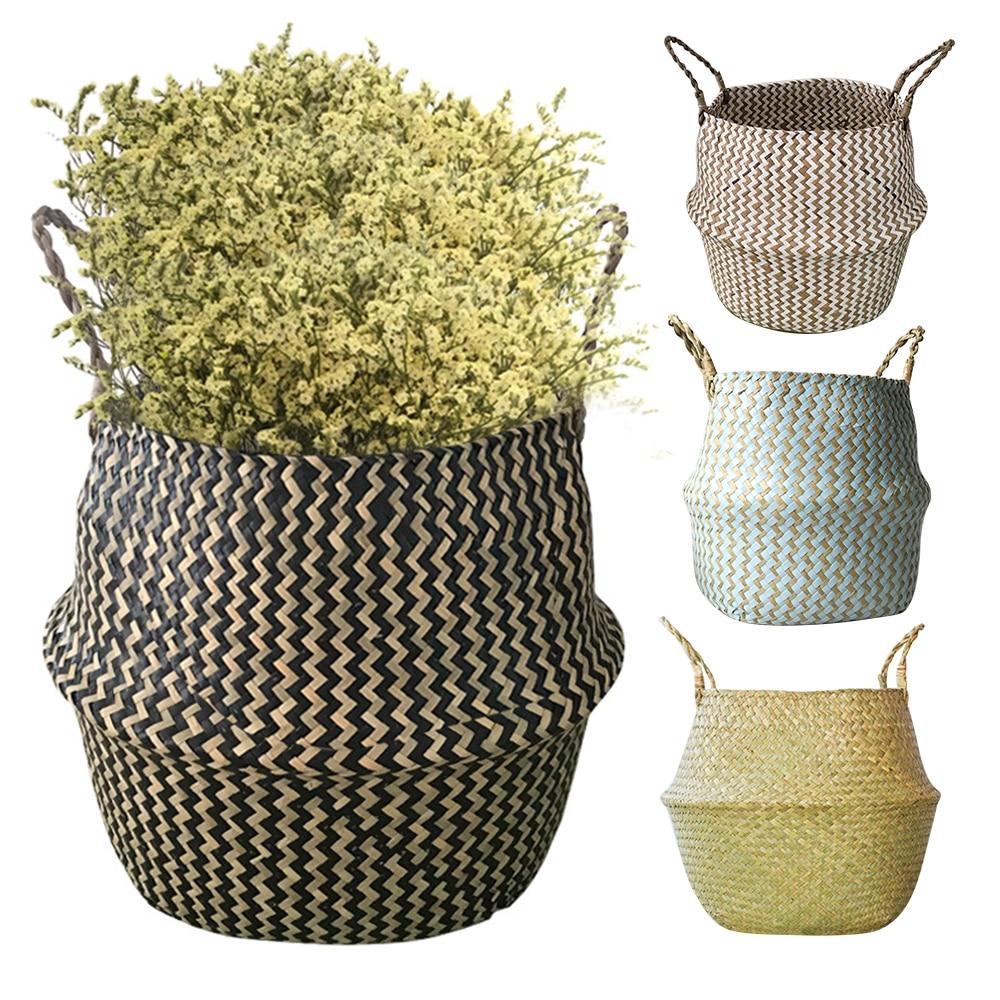 Cestas de armazenamento lavanderia seagrass cestas de vime pendurado vaso de flores cestas de armazenamento flor casa cesta de pote para brinquedos