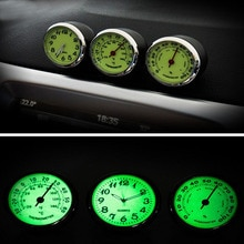 3pcs Car Luminous Clock Thermometer Hygrometer Auto Digital Watch Car Electronic Clock Automotive Cl