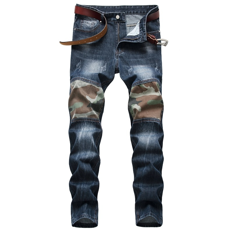 штаны мужские брюки мужские джинсы для мужчин Мужские камуфляжные джинсы, изношенные брюки в европейском и американском стиле, одежда для м...
