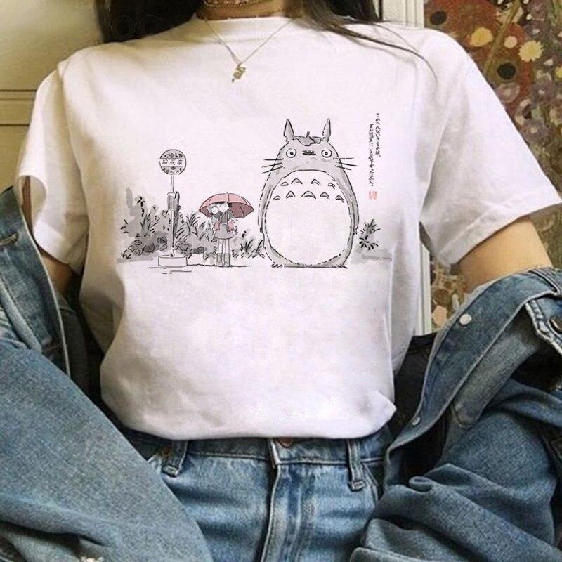 Totoro camiseta estúdio feminina, harajuku kawaii, ullzang, miyazaki hayao, de desenhos animados, camiseta fofa, anime, top feminino