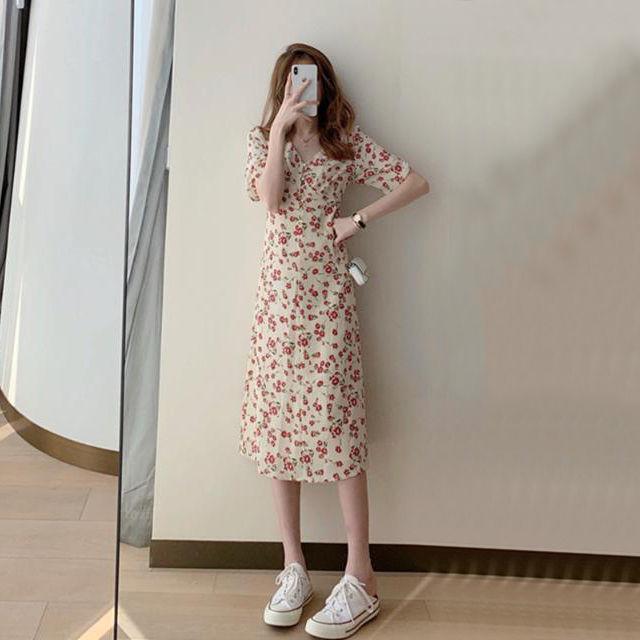 French Retro Dress Womens Summer New Small Tea Break Platycodon Skirt Gentle Floral V-neck