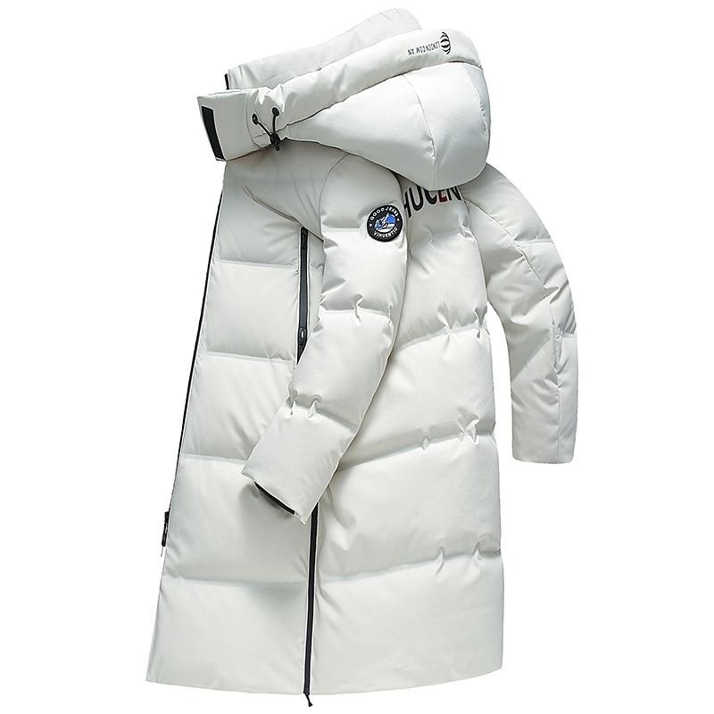 Мужской длинный пуховик с защитой от ветра и воды, зимняя куртка с капюшоном, длинный пуховик, утепленная мужская теплая куртка