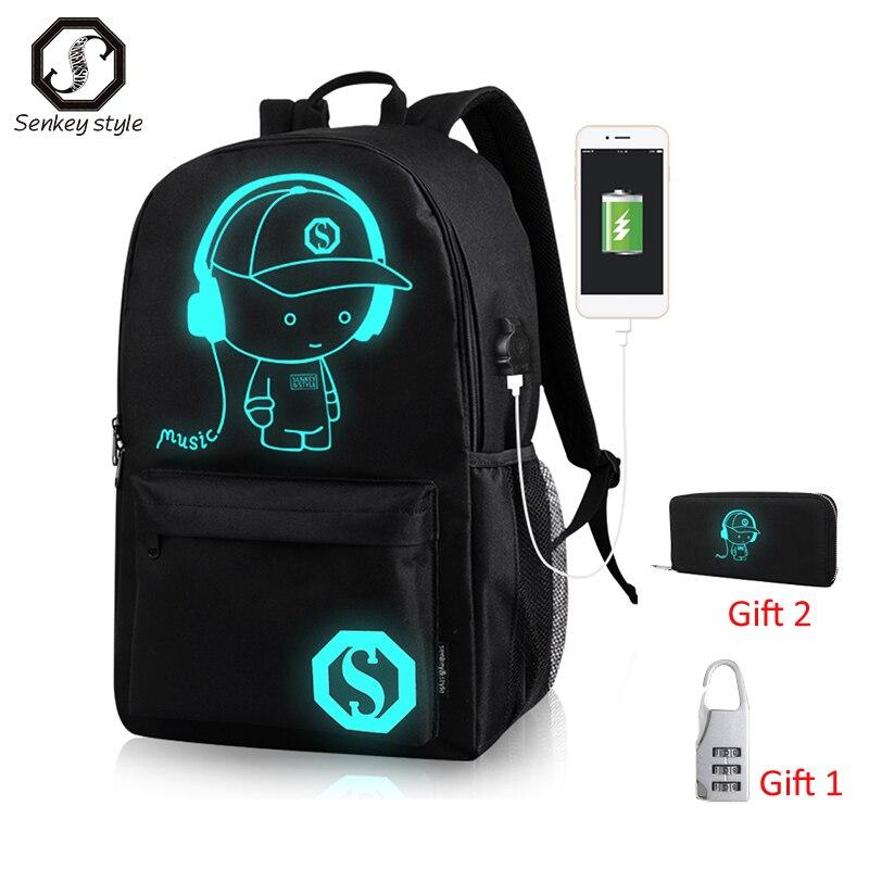 حقيبة ظهر مدرسية للأولاد والبنات ، حقيبة سفر مع شحن USB ، تصميم كرتوني ، للجنسين ، مناسبة للمراهقين