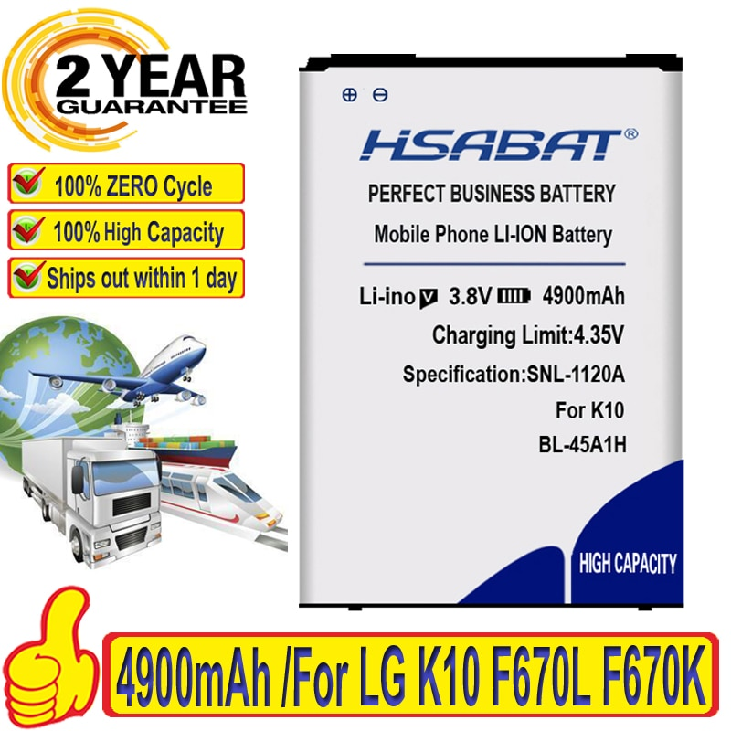 Batería de 4900mAh HSABAT BL-45A1H BL45A1H para LG K10 2016 F670L F670K F670S F670 K420N K10 LTE Q10 K420