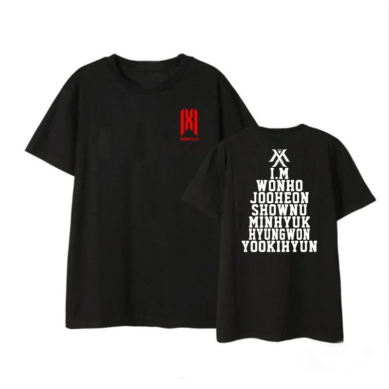 MONSTA X Álbum Kpop Camisas Hip Hop Casuais Roupas Soltas Tshirt T Shirt Tops de Manga Curta T-shirt DX1121