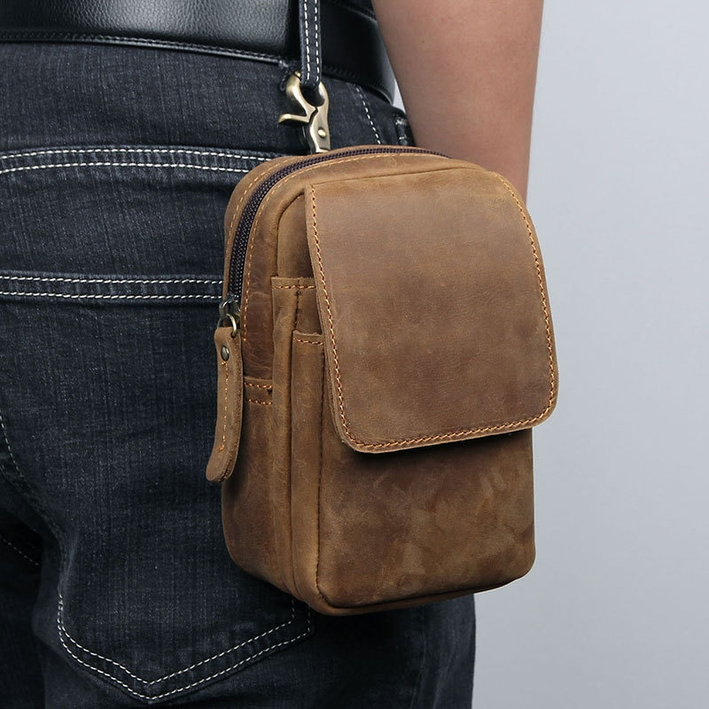 high quality genuine leather men hip bum belt purse fanny pack pouch mini cell mobile phone pocket cigarette case hook waist bag Men Hook Waist Bag Male Genuine Leather Fanny Pack Bags Fashion Men Bum Hip Bag  Belt Bag for Phone Pouch