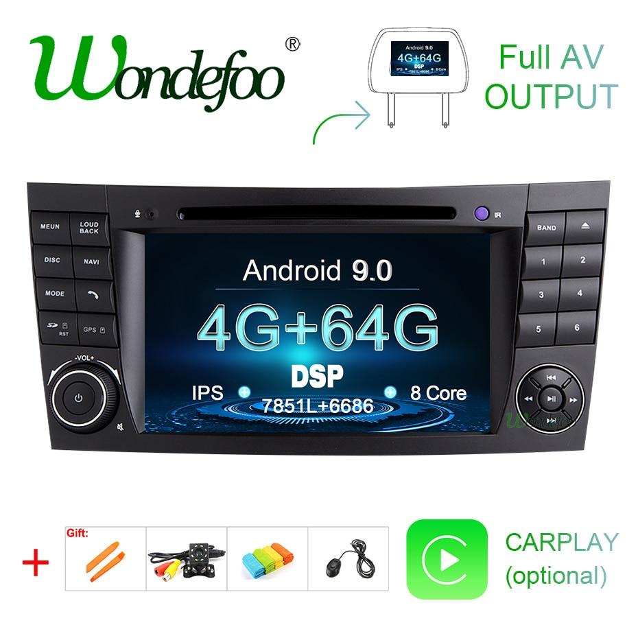DSP IPS Android 9,0 4G 64G coche 2 din GPS para E-clase W211 Mercedes Benz CLK clase G W463 CLS W219 reproductor de DVD radio estéreo de salida