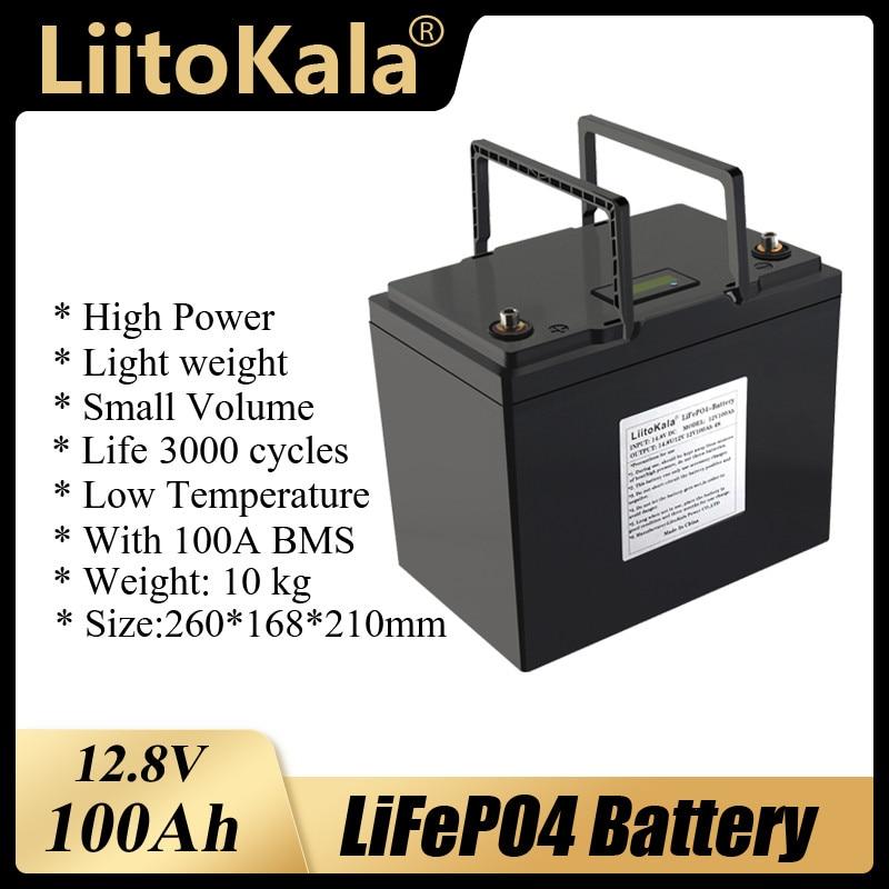 LiitoKala 12V 100AH lifepo4 بطارية مع 100A BMS 4S 12.8V ل 1200W احتياطية عاكس الطاقة RV قارب MPPT الشمسية AGV