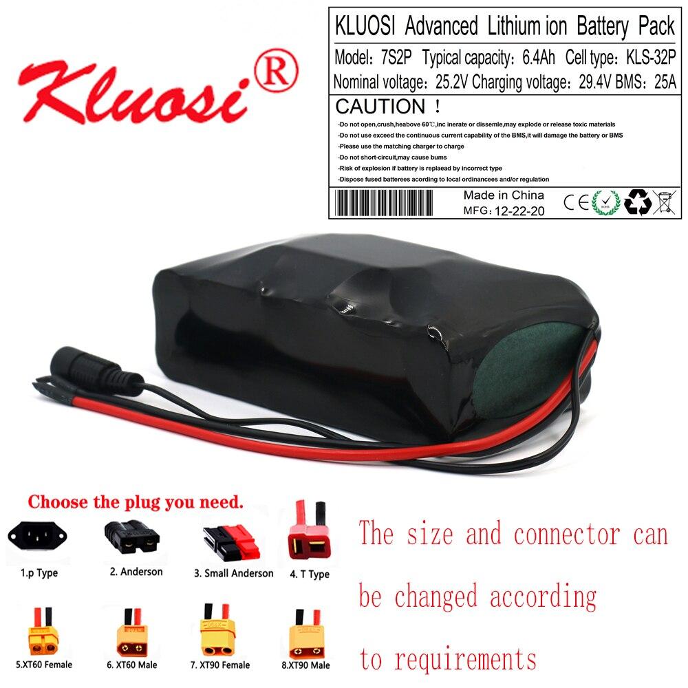 بطارية ليثيوم KLUOSI 7S2P 24V 6.4Ah 6Ah 25.2V 29.4V ، لمحرك الدراجة الكهربائية ، سكوتر ، مع BMS مدمج 25A