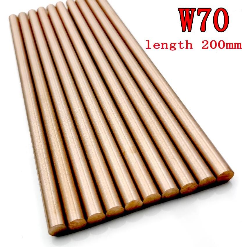 W70Cu30 Tungsten Copper Rod Electrode Copper Bar Put Electric Rod W70 Tungsten Copper Alloy Good Electric Spark Length 200mm