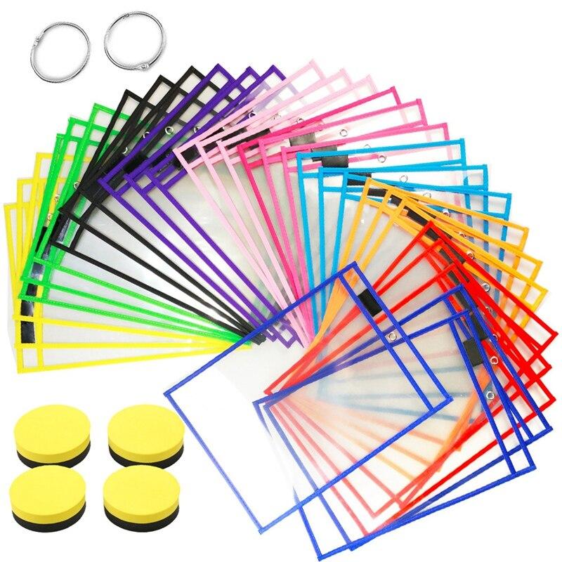 30 قطعة جيوب محو الجافة قابلة لإعادة الاستخدام الأكمام واضحة لوازم المعلم للفصل الدراسي والمدرسة وتنظيم المنزل