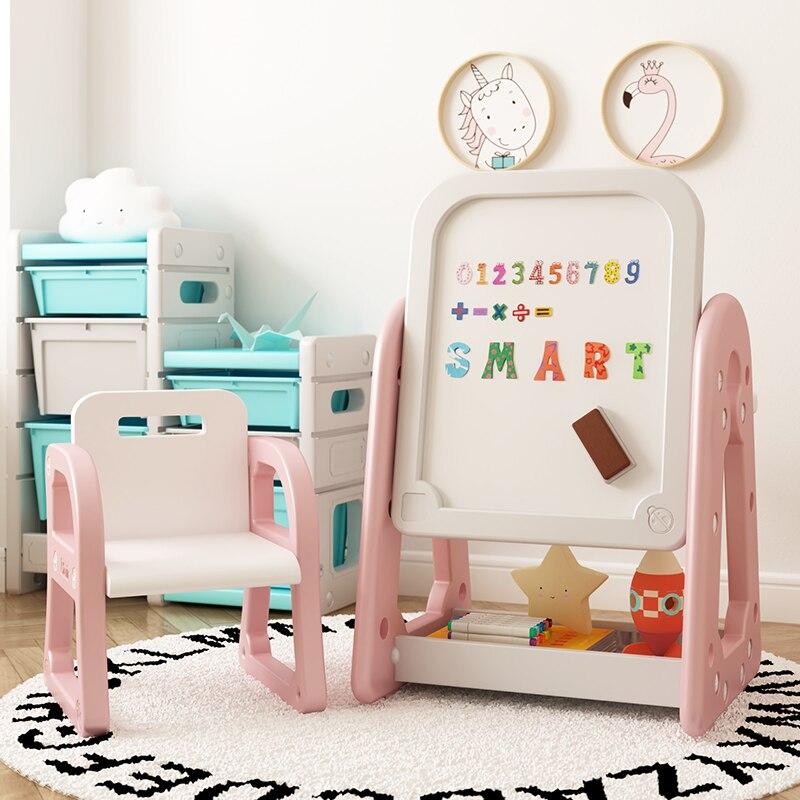 طاولة الأطفال المنزلية وكرسي مجموعة الطفل الكتابة على الجدران الجدول رياض الأطفال اللعب طاولة تعلم للأطفال متعددة الوظائف لوحة الرسم