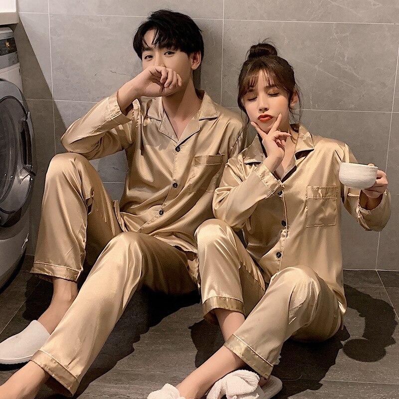 Однотонный цвет одежда для сна шелк атлас пижамы пара комплект длинные пуговицы пижамы костюм пижама женщины мужчины домашняя одежда большие размер пижамы комплект