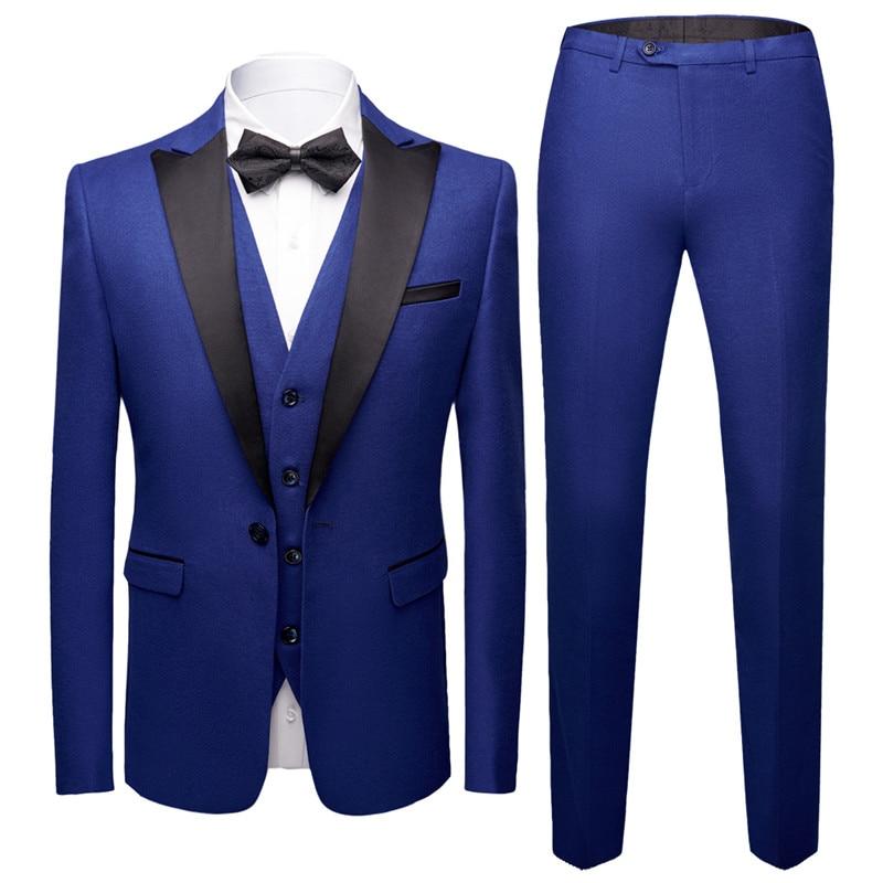 Esmoquin para hombre, trajes de corte entallado (chaqueta + chaleco + Pantalones), 3 piezas, trajes formales para hombre, traje de novio para boda, traje de negocios de tres piezas