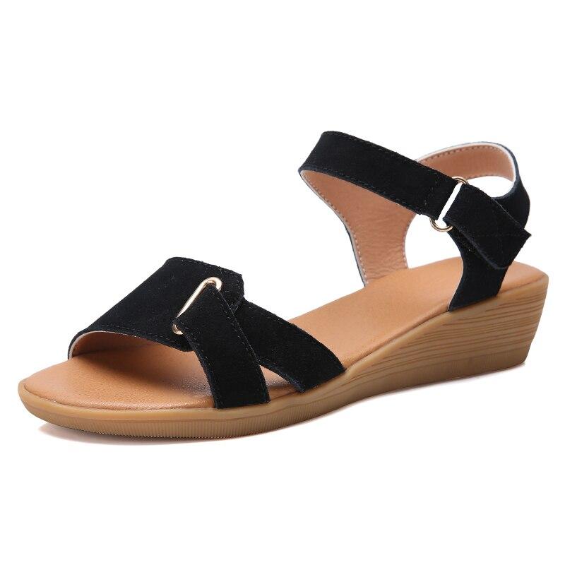 Sandalias de piel de cuero vacuno para mujer, sandalias con cuña para mujer, zapatos de verano para mujer, zapatos informales para mujer, color negro y marrón