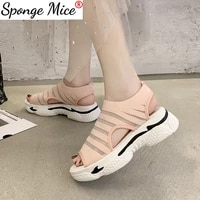 2021 womens sandals muffin thick bottom fish mouth sports sandals lace up breathable mesh casual shoes female beach sandals