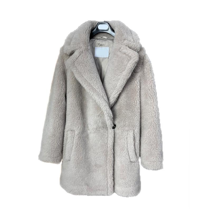 Теплая утолщенная куртка мишка тедди, приталенная зимняя куртка из натурального овечьего меха, женская короткая куртка на одной пуговице, н...