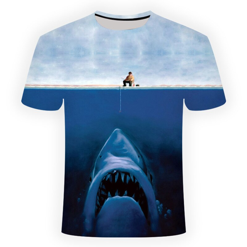 2019 new hd digital leisure 3D printing fishing T-shirt men fishing T-shirt o-collar short sleeves T-shirt Funny fishing T-shirt