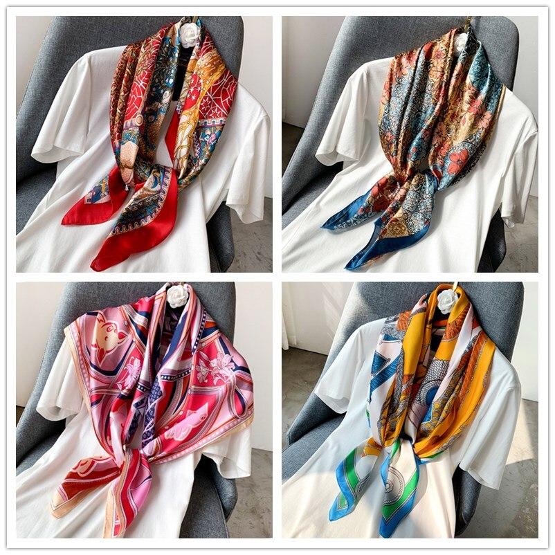 2020 Women Square Scarf Fashion Shawl Print Cat Flower Scarves Lady Shawls Femme Hijab Dropshipping 90*90cm