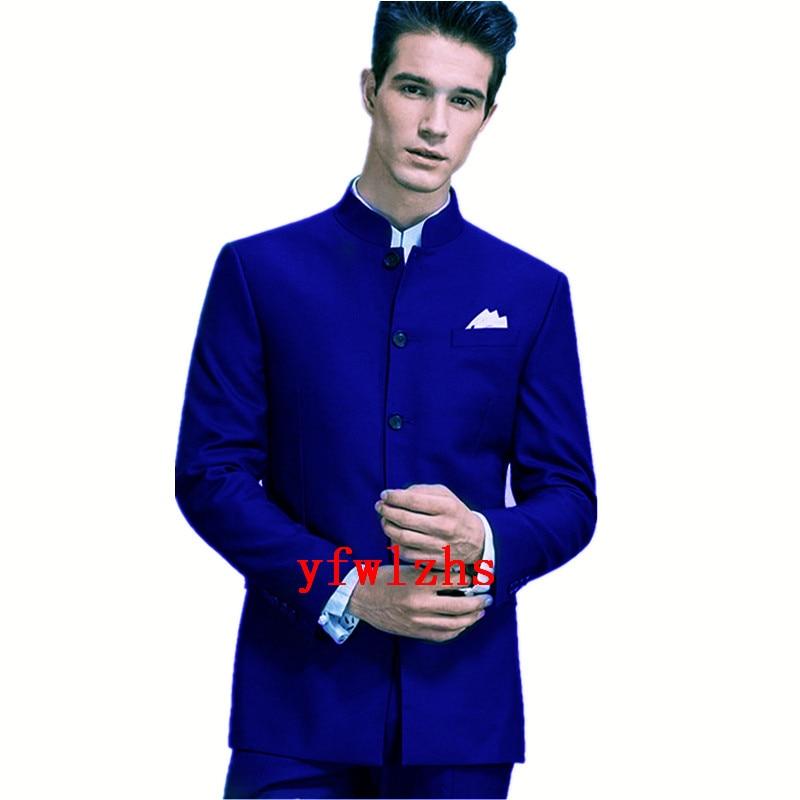 Handsome Single breasted Groomsmen  Mandarin Lape Groom Tuxedos  Men Suits Wedding/Prom/Dinner Best Blazer(Jacket+Pants+Tie) 065