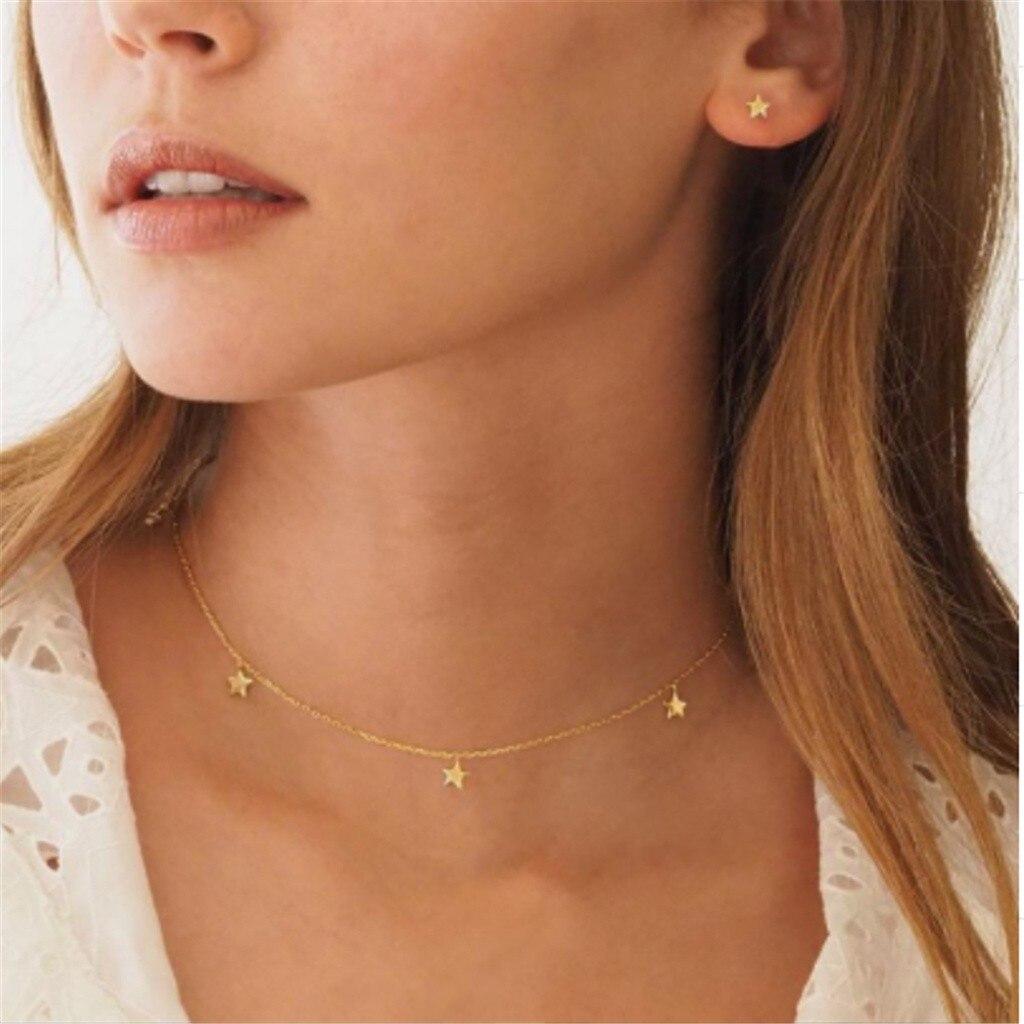 Collar mujer cadena larga, joyería de oro collar llamativo colgante de estrellas collares Retro Simple collar de aleación de clavícula