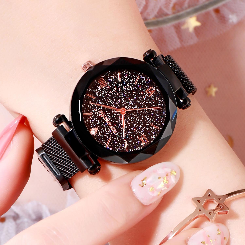 KINGNUOS High-end small fashion ladies starry sky mesh belt waterproof vacuum plating watch enlarge