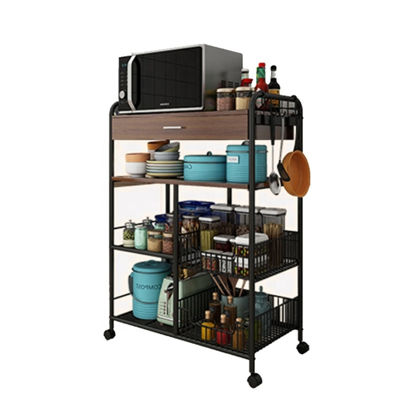 Multifunction with drawers floor kitchen microwave oven rack storage rack