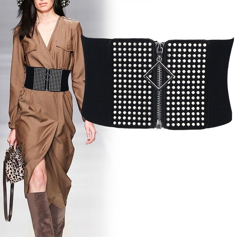 Elastic Belts For Women Rivet Cummerbund Female Black Knitted Elasticity Waist Belt Ladies Wide Zipp