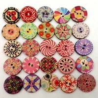mixed 2 holes wooden retro flower painting round buttons for sewing crafting