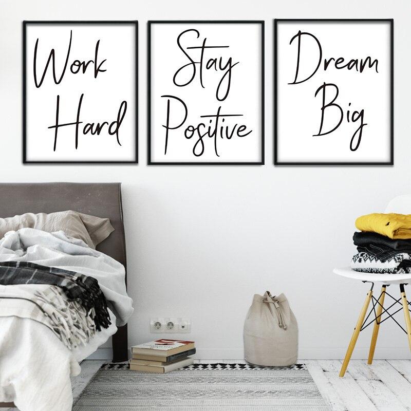 Trabalho minimalista nórdico duro citação wordart preto e branco da parede arte da lona quadros de parede impressão para sala estar