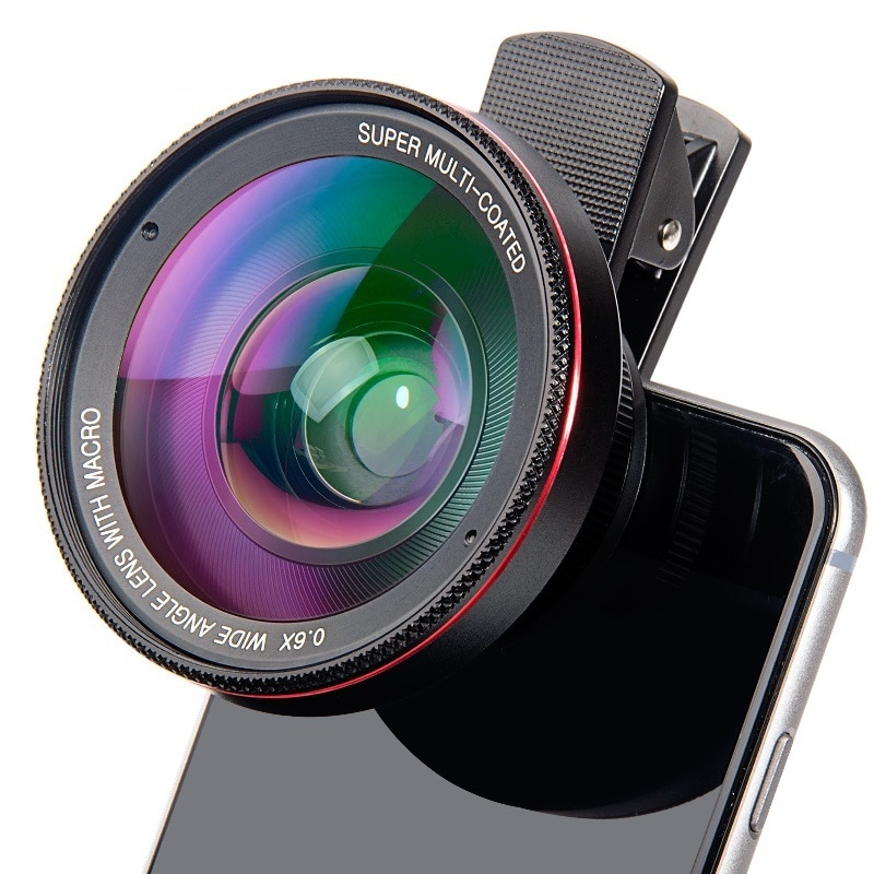 4K HD Super 15X Macro Lens for Smartphone Anti-Distortion 0.45X 0.6X Wide Angle Lens 2 in 1 Mobile P