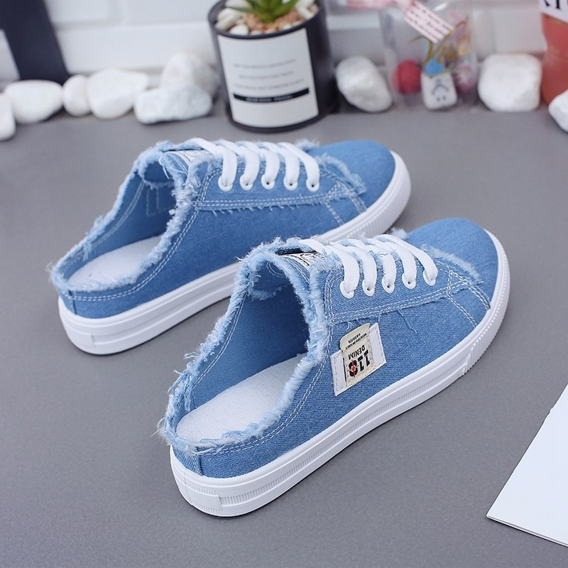 New 2019 Spring Summer Women Canvas Shoes flat sneakers women casual shoes low upper lace up white