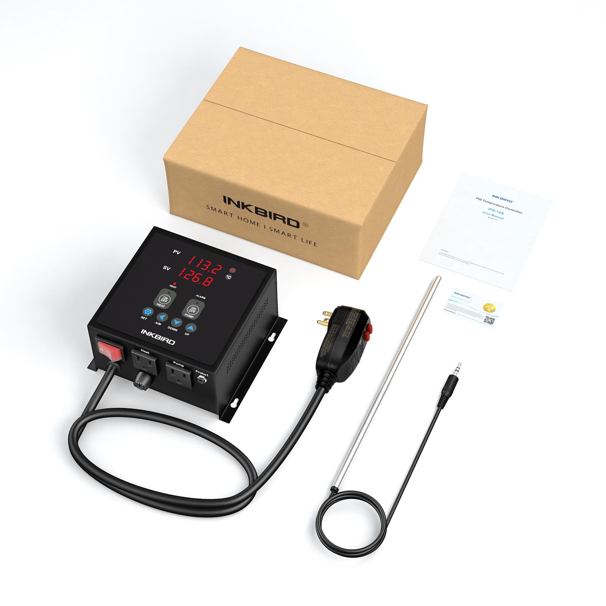 Inkbird وحدة تحكم في درجة الحرارة PID التوصيل ن اللعب IPB-16S قبل السلكية الرقمية الرئيسية تخمير وتقطير تحكم مع 2 المقابس