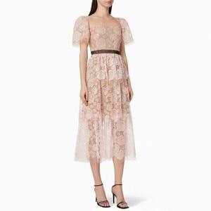 ZAWFL Vintage Elegant Rose Flower Self Portrait Pink SP Party Birghday Night Dresses Women Summer Embroidery Midi Dress