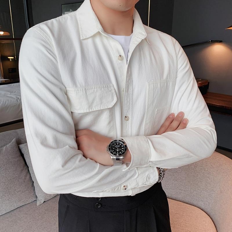 خريف شتاء جديد 100% قميص قطني بكم طويل قميص الرجال الملابس 2021 جيوب الجبهة الموضة ديكور قميص عادي أوم منتظم صالح