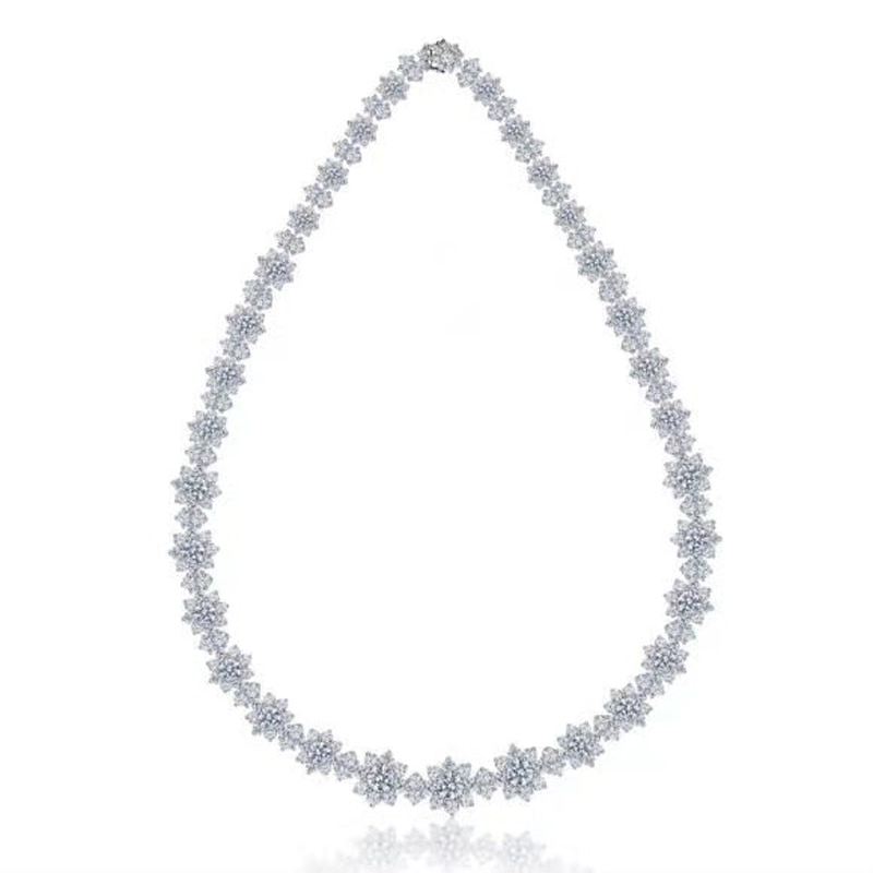 OEVAS 100% 925 Sterling Silver Full High Carbon Diamond Sun Flower 40cm Chains Neckalce For Women Sparkling Wedding Fine Jewelry